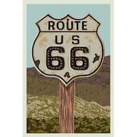 Route 66 - Letterpress - LP Artwork (100% Cotton Towel Absorbent)
