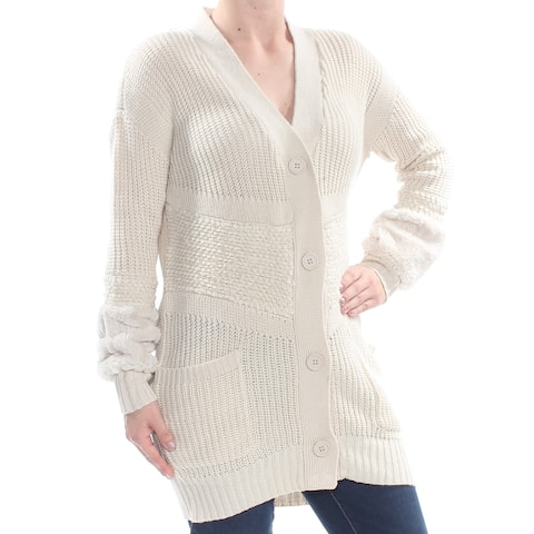 JESSICA SIMPSON Womens Beige Pocketed Mixed Knit Faux Fur Cardigan Long Sleeve Sweater Juniors Size: XS
