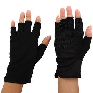 Women Breathable Half Finger Mittens Summer Sun Resistant Gloves Black Pair