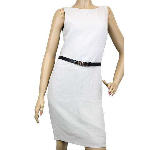 Gucci Women's Gray Silk Interlocking G Belt Dress 260755 (42) - 42