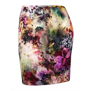 Karen Kane Women's Watercolor Floral Crepe Pencil Skirt (L, Print) - Print - L