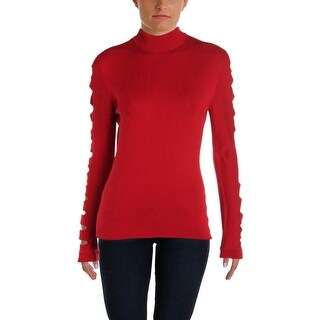 Aqua Womens Mock Turtleneck Sweater Cut-Out Sleeves Fall Winter