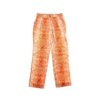 Calvin Klein Orange Snake Print Drawstring Soft Pants M
