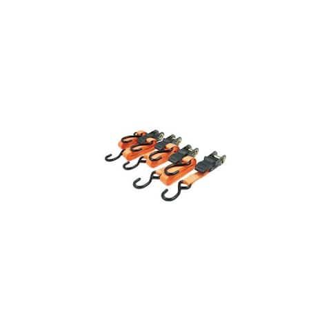 Roadpro r rprtd04r 1x15 ratchet tie-downs with anti-scratch hooks orange 4-piece
