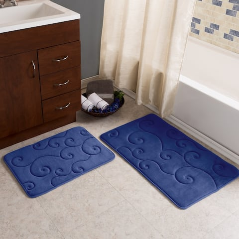 Windsor Home 2 Piece Memory Foam Bath Mat Set - Coral Fleece Embossed Pattern