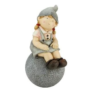 "16"" Young Girl Gnome Sitting on Ball Spring Outdoor Garden Patio Figure"