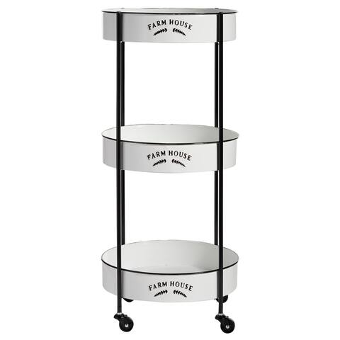 "Round Black And White 3-Tier Metal Cart With Farmhouse Detail 17"" X 35"" - 16 x 16 x 34Round"