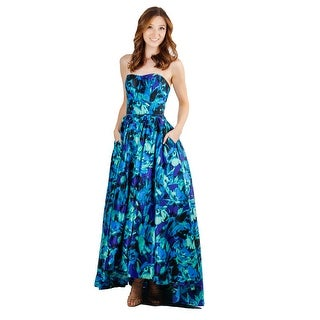 Satin Print Strapless High-Low Gown