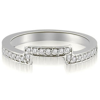 0.25 cttw. 14K White Gold Round Cut Diamond Curve Wedding Band