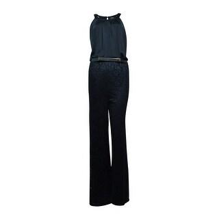Thalia Sodi Women's Belted Crochet Pleated Jumpsuit - Deep Black - m