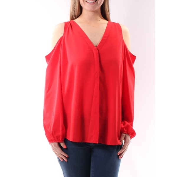 8e919a9a9c2858 Shop INC Womens Red Sleeveless V Neck Button Up Top Size  4 - On Sale - Free  Shipping On Orders Over  45 - Overstock.com - 23450254