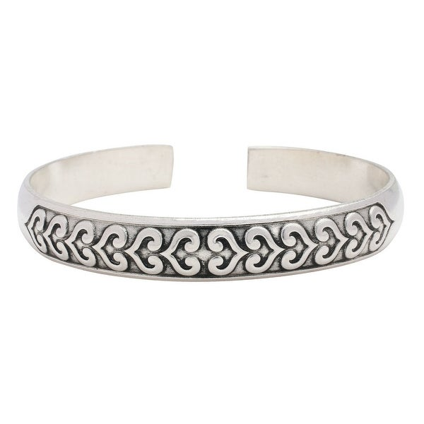 "Women's Scrollwork Hearts Cuff Bracelet - 1/2"" Wide White Copper And Zinc Alloy - Silver"