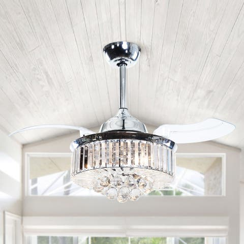 36-in Chrome Retractable 3-Blade Crystal Ceiling Fan with Light Kit
