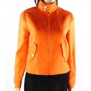 Lauren Ralph Lauren NEW Orange Womens Size 14 Mock Neck Linen Jacket