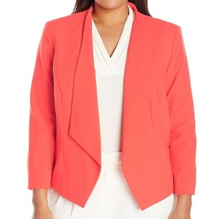 Nine West NEW Tangerine Orange Womens Size 18W Plus Open-Front Jacket