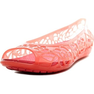 Crocs Isabella Jelly Youth Peep-Toe Synthetic Pink Flats