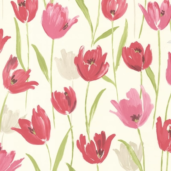 Brewster 347-20116 Finch Pink Hand Painted Tulips Wallpaper - N/A