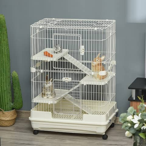 Pawhut 32L 4-Level Indoor Small Animal Rabbit Cage with Wheels
