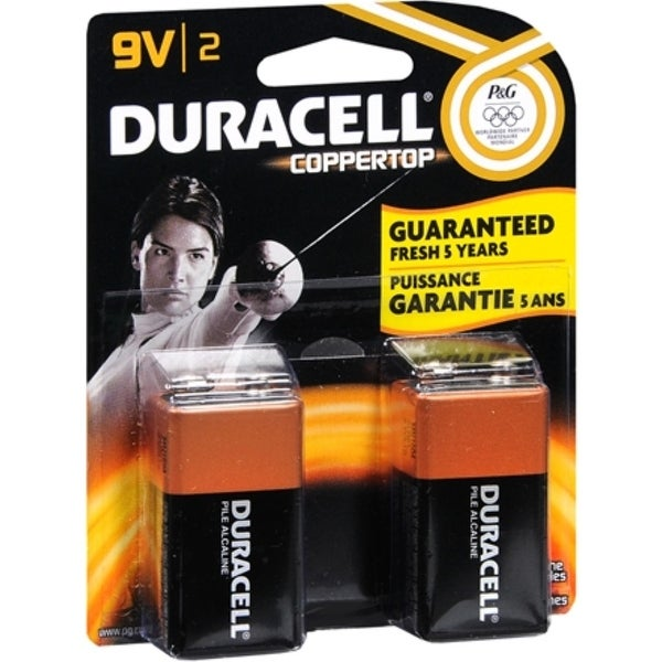 Duracell Coppertop Alkaline Batteries 9 Volt 2 Each
