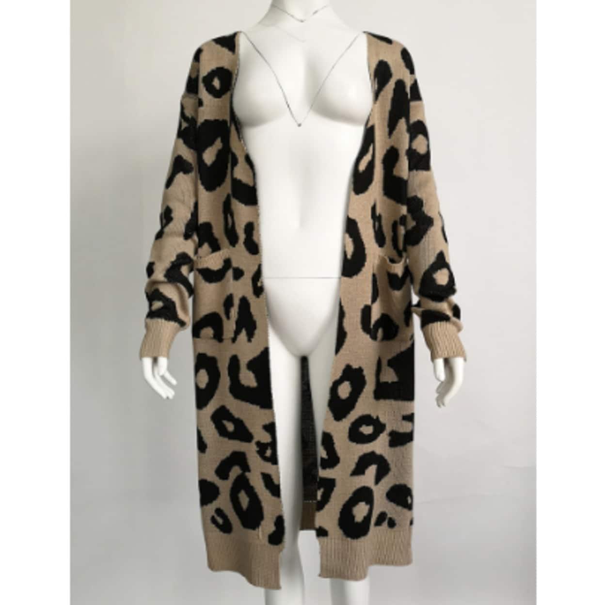 Cardigan Plus Size Coat Jacket Long Sleeve Camo Women/'s Leopard Open Front