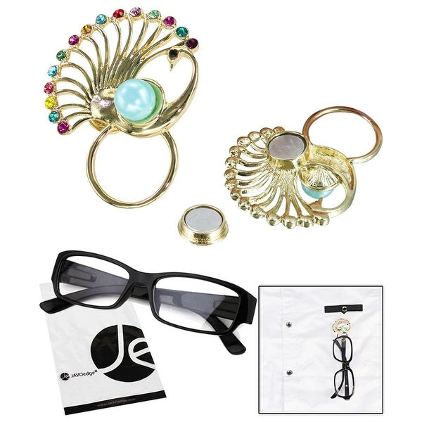 JAVOedge Peacock Style Magnetic Eyeglass Receptacle Holder - gold