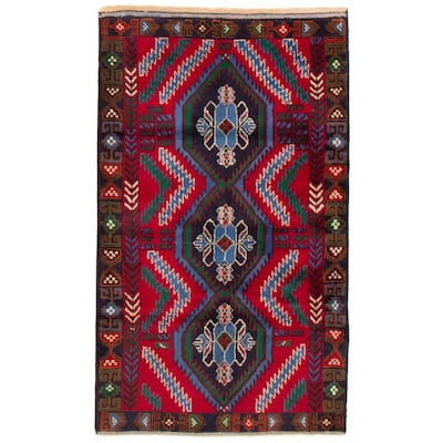 ECARPETGALLERY Hand-knotted Teimani Red Wool Rug - 3'10 x 6'5