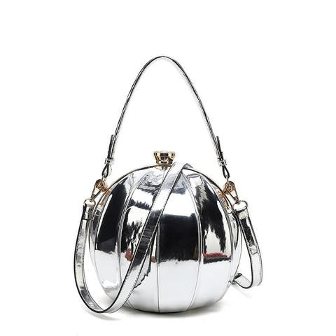 Style Strategy Patent Leather Round Bag