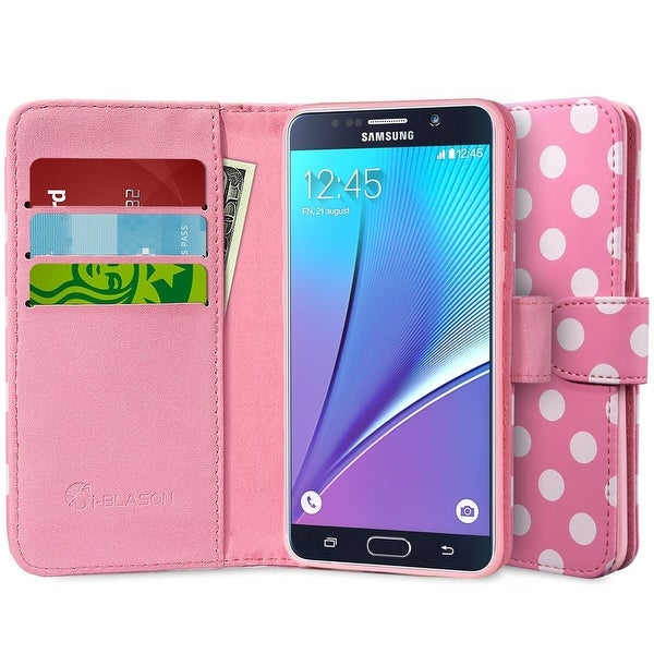 i-Blason Galaxy Note 5 Slim Leather Wallet Case - Pink