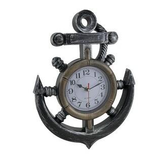 Nautical Anchor and Ship Wheel Antique Finish Wall Clock