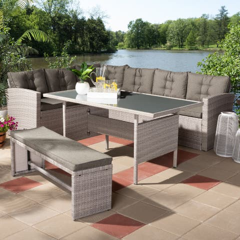 Eneas Modern and Contemporary Dark Grey Fabric Upholstered and Grey Rattan 3-Piece Outdoor Patio Lounge Corner Sofa Set