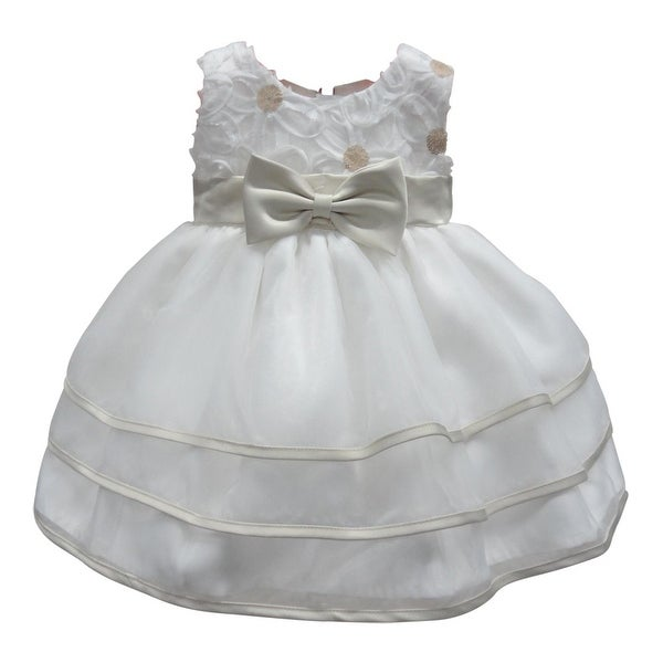 Baby Girls Champagne Bow Sequin Floral Embellished Flower Girl Dress 6-24M