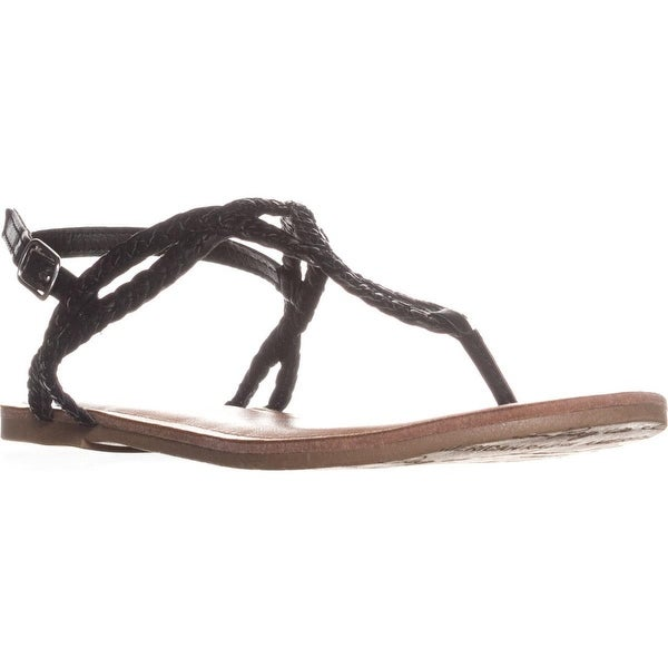 AR35 Krista Thong T-Strap Flat Sandals, Black Braided - 7 us
