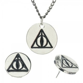 Harry Potter Deathly Hallows Charm Necklace and Earring Stud Set