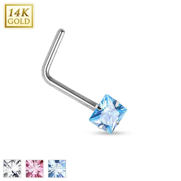 14Kt White Gold Prong Square CZ L Bend Nose Ring - 20GA (Sold Ind.)