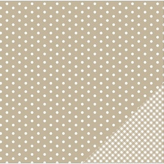 """American Crafts Basics Double-Sided Cardstock 12""""X12""""-Tan Dot"""