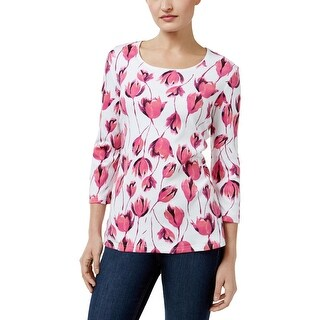 Karen Scott Womens Petites Casual Top Floral Print Scoop Neck