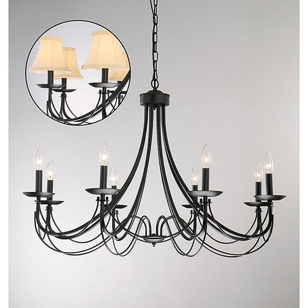 The Gray Barn Calloway Hill 8-light Black Iron Chandelier. Opens flyout.
