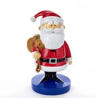 """8.5"""" Vibrantly Colored Christmas Themed Santa Claus with Sack Nutcracker - WHITE"""