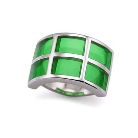 Stainless Steel Women's Ring with Green Resin Inlay (Sizes 5-9)