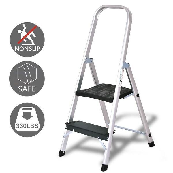 Costway 2 Step Aluminum Ladder Folding Non-Slip Work Platform Stool 330Lbs Load Capacity - as pic