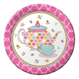 """Club Pack of 96 Pink Tea Time Paper Luncheon Party Plates 7"""""""
