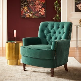 Link to Salvert Dark Green Velvet Tufted Accent Chair by iNSPIRE Q Bold Similar Items in Living Room Chairs