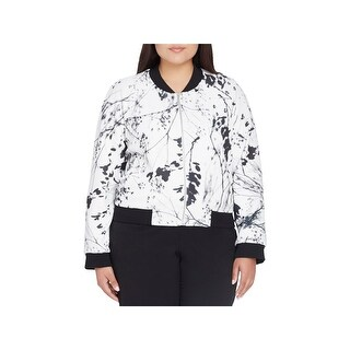 Tahari ASL Womens Plus Bomber Jacket Printed Zip-Up