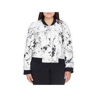 Tahari ASL Womens Plus Bomber Jacket Printed Zip-Up