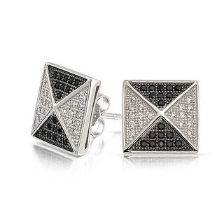 Bling Jewelry Micro Pave Black White CZ Pyramid Studs Sterling Silver