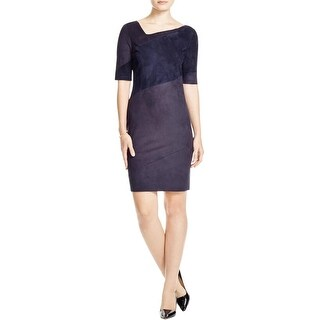 Elie Tahari Womens Kellen Wear to Work Dress Faux Suede Colorblock