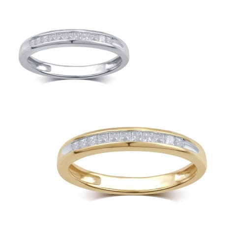 10K White and Yellow Gold 1/4ct TDW White Diamond Channel Band