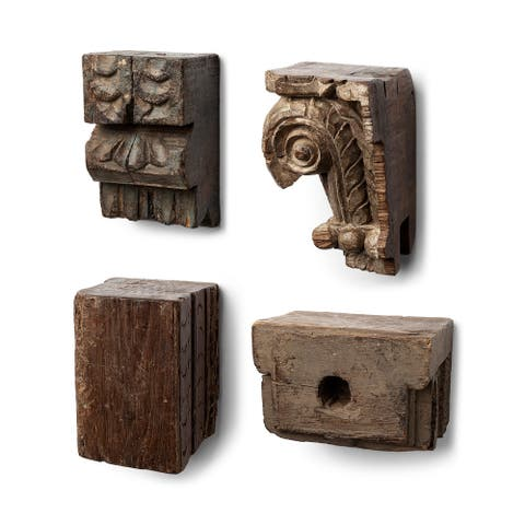 Mercana Negundo Set of 4 Antique Reclaimed Wooden Molding Wall Decor