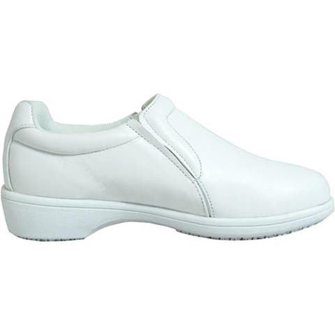Genuine Grip Footwear Women's Slip-Resistant Slip-on Casual White Soft Full Grain Leather