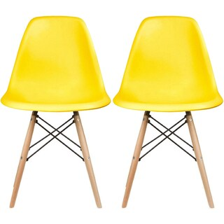2xhome Set of 2 Designer Plastic Eiffel Chairs Solid Wood Legs Retro Dining Molded Shell Hotel